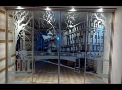 Шкаф-купе с пескоструйным рисунком Город